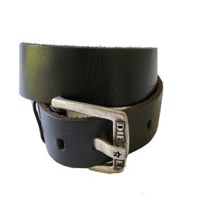 Diesel Black Leather Belt Silver Logo Buckle